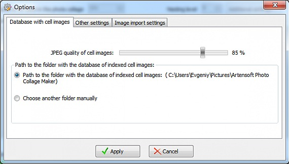 Photo collage database options