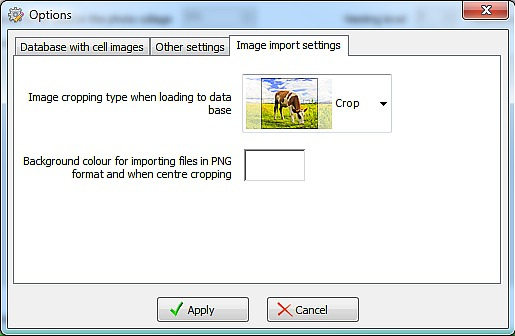 photo collage importing settings