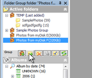 Добавление в редактор фотографий новых снимков при помощи кнопок в окне с виртуальными папками