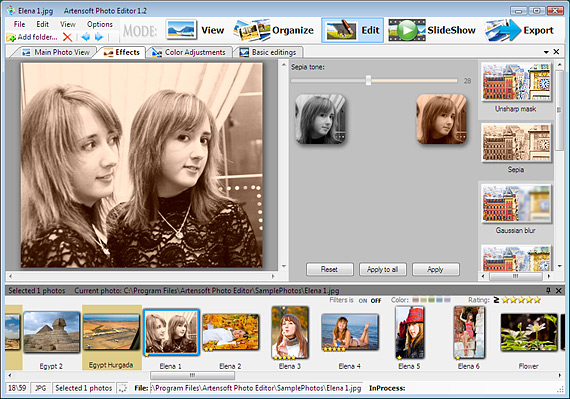 Sepia color batch processing for photo