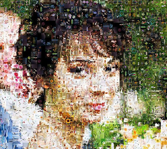 mosaic photo with flowers