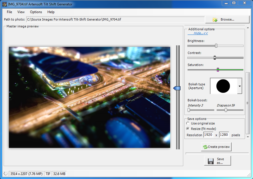 Artensoft Tilt Shift Generator - 照片移轴效果制作软件丨反斗限免