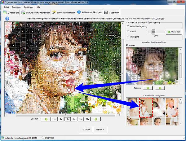 Korrigieren eines Mosaik: Sie können, wenn Sie möchten, für jede Zelle ein besseres Bild auswählen